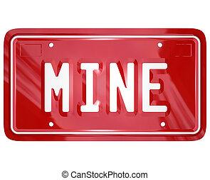 Mine Word Red Vanity License Plate Auto Car