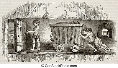 Mine working ter - Children working as coal miners, pulling...