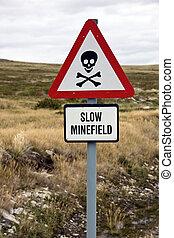 Danger Minefield sign near a road in the Falkland Islands (Islas Malvinas).
