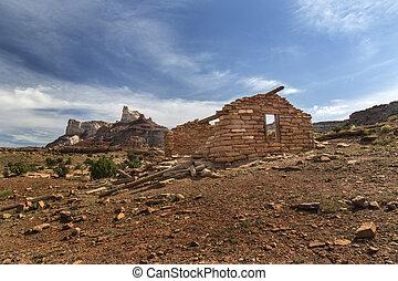 mineiro, cabana, em, abandonado, rádio, mina, em, utah