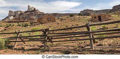 mineiro, cabanas, em, abandonado, rádio, mina, em, utah