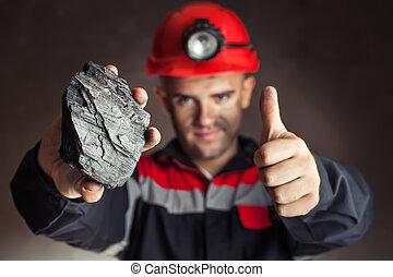 mineiro carvão, com, protuberância, de, carvão