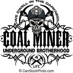 mineiro carvão, subterrâneo, fraternidade
