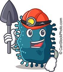 mineiro, clostridium, conceito, capacete, caricatura, desenho, ferramenta