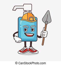 mineiro, fresco, mão, personagem, caricatura, sanitizer, mascote