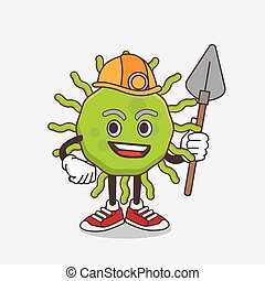 mineiro, fresco, vírus, verde, personagem, caricatura, mascote