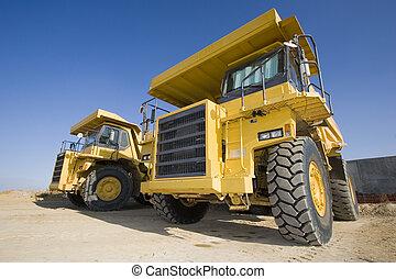 minería, amarillo, camiones