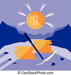 minería, bitcoin, crypto, iconos