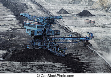 minería carbonífera, hoyo, abierto