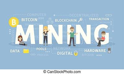 minería, concepto, illustration.