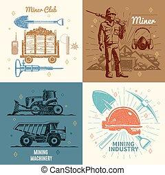 minería, concepto, industria