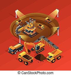 minería, concepto, isométrico