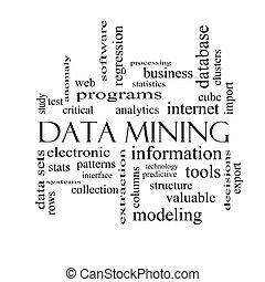 minería, concepto, palabra, negro, blanco, datos, nube