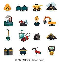 minería, conjunto, iconos