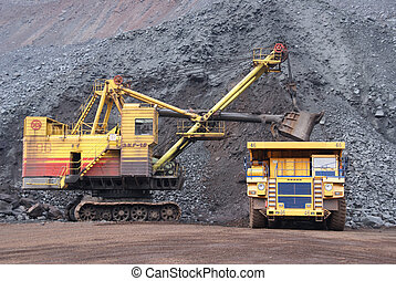 minería, de, hierro, mineral