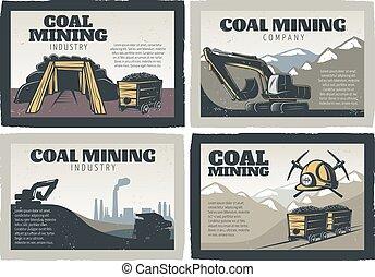 minería, diseños, conjunto, carbón