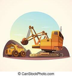 minería, ilustración, concepto