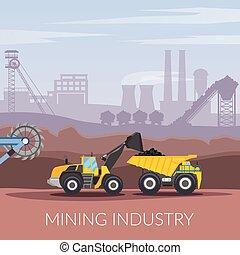 minería, industria, plano, composición