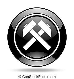 minería, negro, brillante, icono