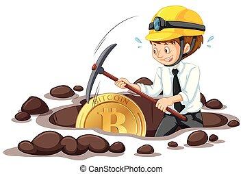 minería, oficinista, bitcoin