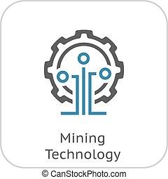 minería, tecnología, icon.