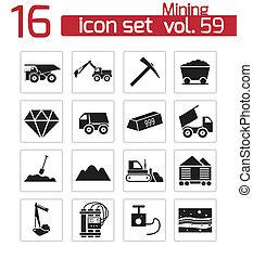 minería, vector, negro, conjunto, iconos