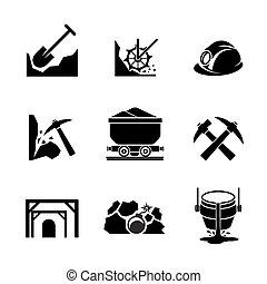 minería, y, mineral, extracción, iconos