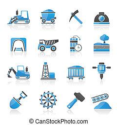 minería, y, quarrying, industria, iconos