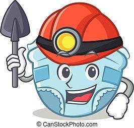 Miner baby diaper character cartoon
