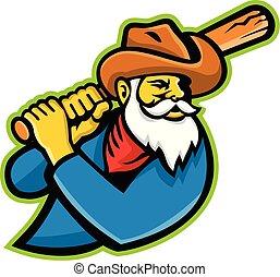 miner-batting-side-MASCOT - Mascot icon illustration of head...