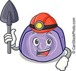 Miner blueberry roll cake mascot cartoon