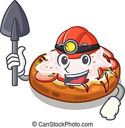 Miner bread bruschetta above cartoon wooden table
