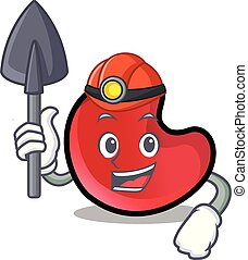 Miner candy moon mascot cartoon vector illustration