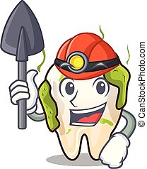 Miner cartoon decayed tooth before restorative treatment