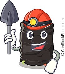 Miner cartoon garbage bag next to table vector illustration