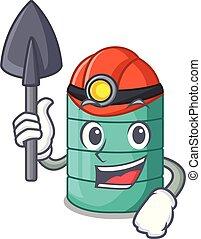 Miner cartoon water tank on the tower vector illustration