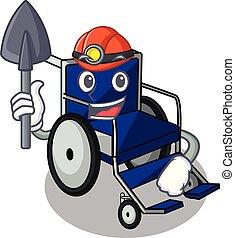 Miner cartoon wheelchair in a hospital room