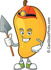 Miner character mango fruit with cartoon mascot