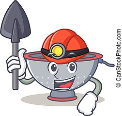 Miner colander utensil character cartoon vector illustration