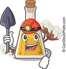 Miner cottonseed oil in the cartoon shape vector ...