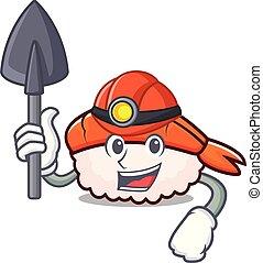 Miner ebi sushi mascot cartoon