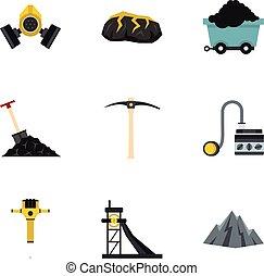 Miner equipment icons set, flat style