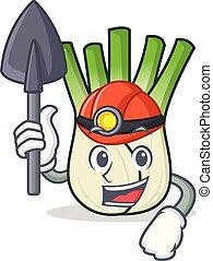 Miner fennel mascot cartoon style vector illustration
