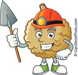 Miner fresh marolo fruit character mascot in cartoon
