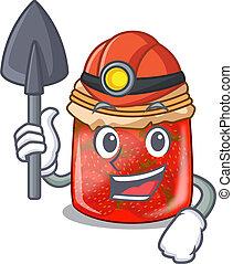 Miner fresh tasty strawberry jam on mascot vector...