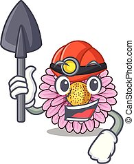 Miner gerbera flower isolated in the cartoon