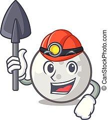 Miner golf ball mascot cartoon