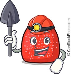 Miner gumdrop mascot cartoon style vector illustration