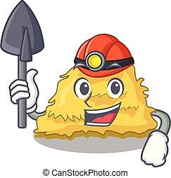 Miner hay bale mascot cartoon vector illustration