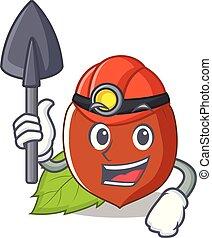 Miner hazelnut mascot cartoon style